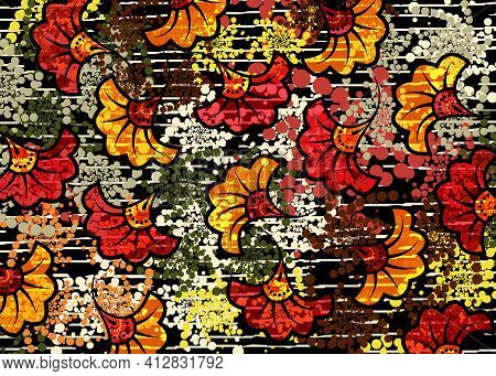 African Wax Print Fabric, Ethnic Overlap Ornament Fashion Design, Kitenge Pattern Motifs Floral Elem