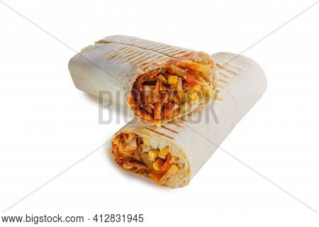Two Crossed Parts Of Eastern Cheesy Shawarma