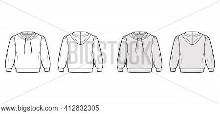 Hoody Sweatshirt Technical Fashion Illustration With Elbow Sleeves, Relax Body, Banded Hem, Drawstri