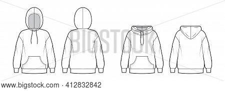 Set Of Hoody Sweatshirt Technical Fashion Illustration With Long Sleeves, Oversized Body, Kangaroo P