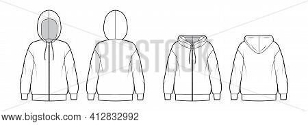 Set Of Zip-up Hoody Sweatshirt Technical Fashion Illustration With Long Sleeves, Oversized Body, Ban