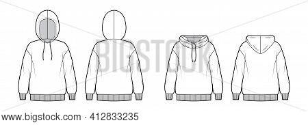 Set Of Hoody Sweatshirt Technical Fashion Illustration With Long Sleeves, Oversized Body, Knit Rib C