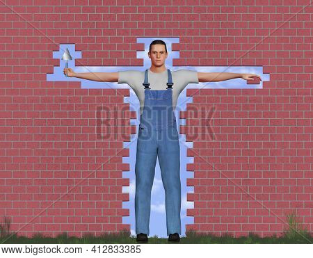 A Bricklayer Or Mason Is Seen In An Opening In A Brick Wall. This Is A 3-d Illustration.