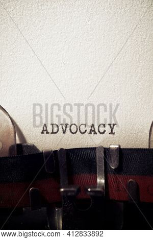 Advocacy word written with a typewriter.