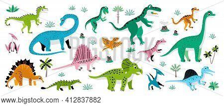 Childish Poster With Jurassic Reptiles. Cute Flat Dinosaur Set. Illustrations Prehistoric Lizard For