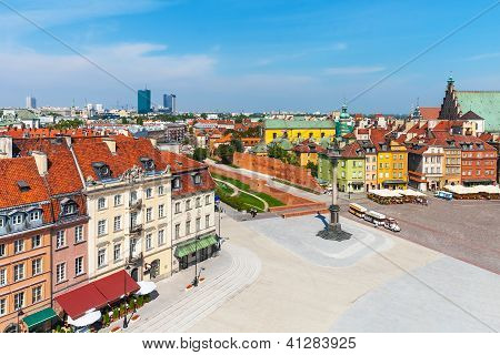 Aerial panorama of Warsaw, Poland