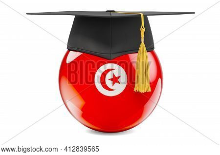 Education In Tunisia Concept. Tunisian Flag With Graduation Cap, 3d Rendering Isolated On White Back