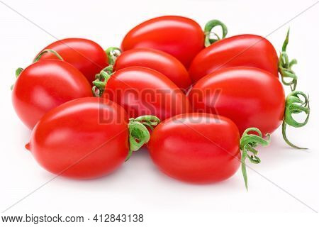 Bunch Of San Marzano Tomatoes. Whole Plum Cherry Juicy Tomato Isolated On White. Italian Fresh Veget