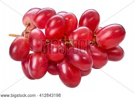 Red Ripe Grape Cluster Isolated On White Background. Purple Fresh Grape Bunch, Autumn Composition. M