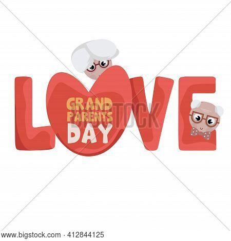 Love Granparents Grandma Day Image Icon- Vector