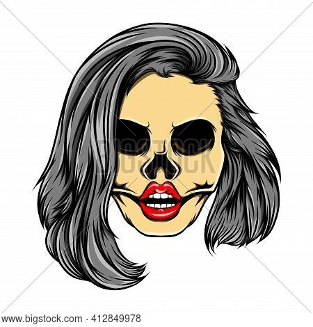 The Glossy Coloured Women Skull With The Stacked Bob Hair Mode Of Illustration