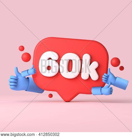 60 Thousand Followers Social Media Banner Thumbs Up. 3d Rendering