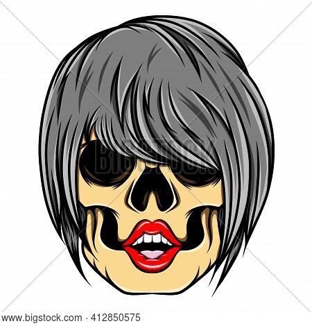 The Glossy Hand Drawn Of The Women Skull With The Edgy Pixie Cut Of Illustration