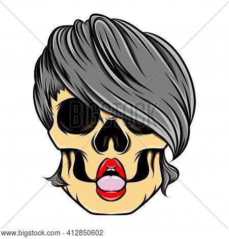 The Artwork Of The Sexy Lips Women Skull With The Under Cut Hair Model Of Illustration