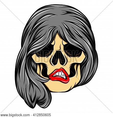 The Tattoo Inspiration Of The Women Skull With The Concave Bob Hair Of Illustration