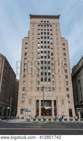 Shanghai, China - May 4, 2010: Frontal Closeup Of Brown Stone Building Of Bank Of China Along The Bu