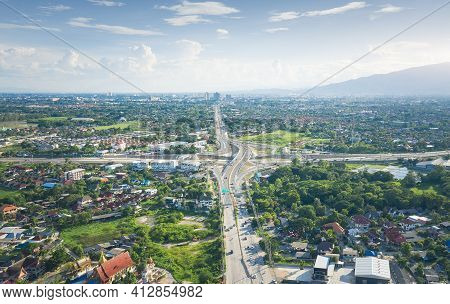 Road, Highway Or Street In Aerial View. At Mae Kuang Intersection Or Junction In Chiang Mai Of Thail