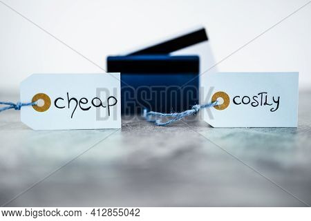 Cheap Vs Costly Prioduct Price Tags Next To Payment Cards, Money And Consumer Behaviour Conceptual I