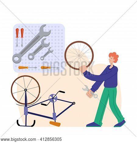 Bicycle Repair. A Man Repairs A Bicycle. The Mechanic Repairs The Bicycle, The Mechanic Inflates The
