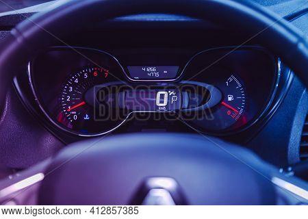 Novosibirsk, Russia - March 16  2021: Renault Kapture, Car Panel, Digital Bright Speedometer, Odomet