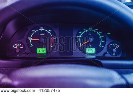 Novosibirsk, Russia - March 16  2021: Uaz Patriot, Car Panel, Digital Bright Speedometer, Odometer A