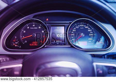 Novosibirsk, Russia - March 16  2021: Audi Q7, Car Panel, Digital Bright Speedometer, Odometer And O