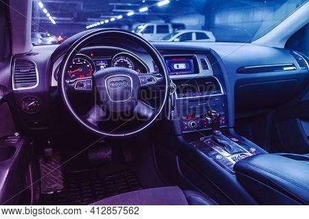 Novosibirsk, Russia - March 16  2021: Audi Q7, Luxurious Car Interior - Steering Wheel, Shift Lever