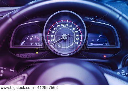Novosibirsk, Russia - March 16  2021: Mazda 3, Car Panel, Digital Bright Speedometer, Odometer And O