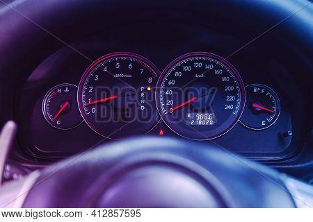 Novosibirsk, Russia - March 16  2021: Subaru Outback, Car Panel, Digital Bright Speedometer, Odomete