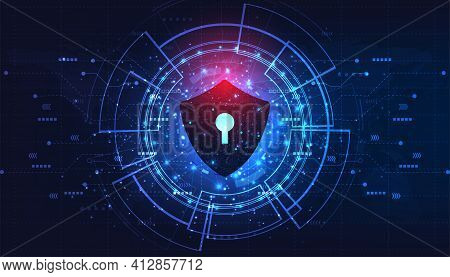 Internet Security Concept.security Of Protect Internet Computer Virus Attack With Shield Icon On Blu
