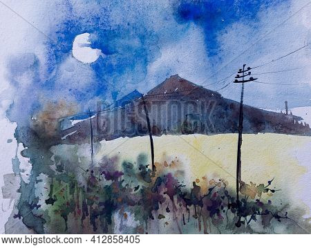 Moody Watercolor Painting Of Dark Mounain At Night, Moon Partly Covered With Cloud. Landscape, India