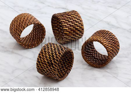 Rattan, Wicker Napkin Rings A Versatile Accessory That Can Be Used For Multiple Decorating Ideas.