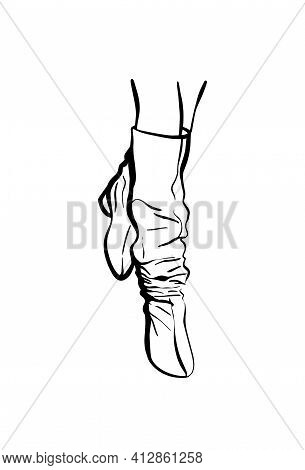 Womens Feet In High Boots. Fashion Illustration. Womens Legs. Stylish Womens Shoes Sketch.