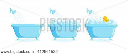 Bathtub With Rubber Duck With Suds And Shower. Tub Set With Yellow Duck In Bubbles And Foam. Vector