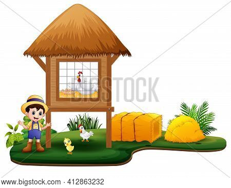 Young Farmer And Chicken Coop On White Background