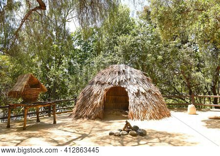 LAKE FOREST, CA - APRIL 19, 2017: Indian Village at Heritage Hill Historical Park. The 4 acre park includes, 4 fully restored historic buildings from Saddleback Valley - El Toro.