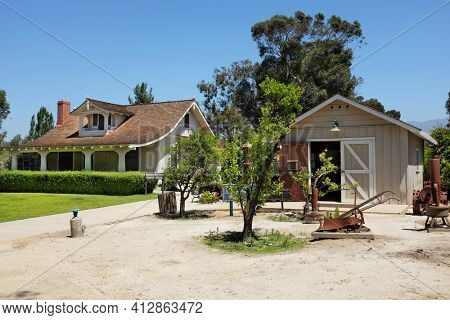 LAKE FOREST, CA - APRIL 19, 2017: Heritage Hill Historical Park. The Bennett House and Library are two of the historic buildings from the El Toro - Saddleback Valley area relocated to the park.