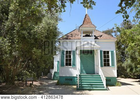 LAKE FOREST, CA - APRIL 14, 2017: Heritage Hill Historical Park. The El Toro Grammar School is of the historic buildings from the El Toro - Saddleback Valley area relocated to the park.