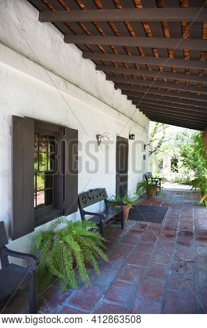 LAKE FOREST, CA - APRIL 14, 2017: Serrano Adobe Walkway at Heritage Hill Historical Park. The adobe was built in 1863 on land then called, Rancho Canada de los Alisos.