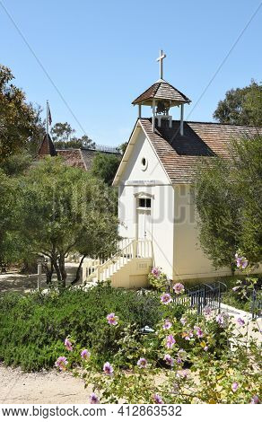 LAKE FOREST, CA - APRIL 14, 2017: St. Georges Episcopal Mission at the Heritage Hill Historical Park.