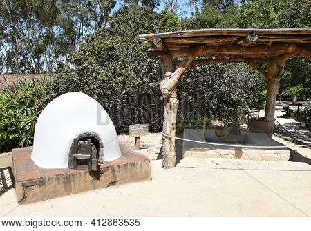 LAKE FOREST, CA - APRIL 14, 2017: Outdoor kitchen at the Serrano Adobe in the Heritage Hill Historical Park.
