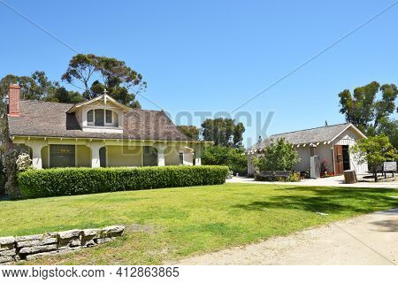 LAKE FOREST, CA - APRIL 14, 2017: Heritage Hill Historical Park. The Bennett House and Library are two of the historic buildings from the El Toro - Saddleback Valley area relocated to the park.