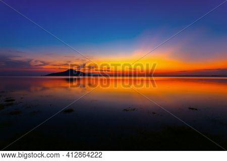 Sunset River Sky Clouds Landscape. River Sunset Horizon View. Sunset River Landscape. River Sunset V