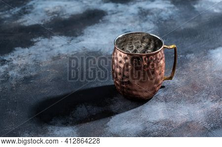 Shiny Copper Moscow Mule Mug With Handle. Hammered Vintage Copper Mug.