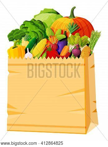 Paper Bag Full Of Fresh Vegetables. Farming Fresh Food, Organic Agriculture Products. Autumn Harvest