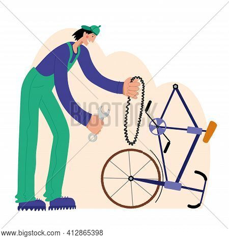 Bicycle Repair. The Mechanic Repairs The Bicycle. Web Graphics, Banners, Advertisements, Business Te