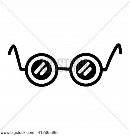 Glasses Vector Icon. Isolated Vector Illustration Of Glasses On A White Background. Glasses Silhouet