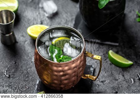 Icy Cold Moscow Mules With Ginger Beer And Vodka. Splashes Frozen Motion. Banner, Menu, Recipe, Plac