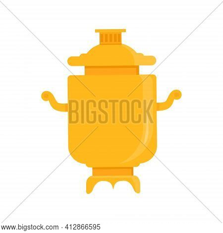 Samovar Flat Vector Illustration. Russian Traditional Symbol Isolated On White Background. Heated Me