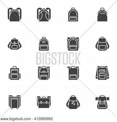 Backpack Vector Icons Set, Modern Solid Symbol Collection, Filled Style Pictogram Pack. Signs, Logo